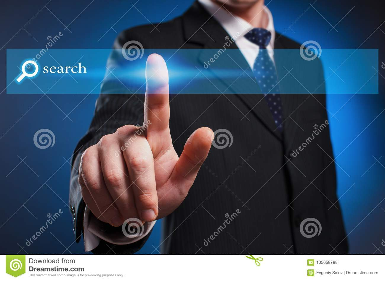 Virtual multimedia display. A man in a suit and tie clicks the