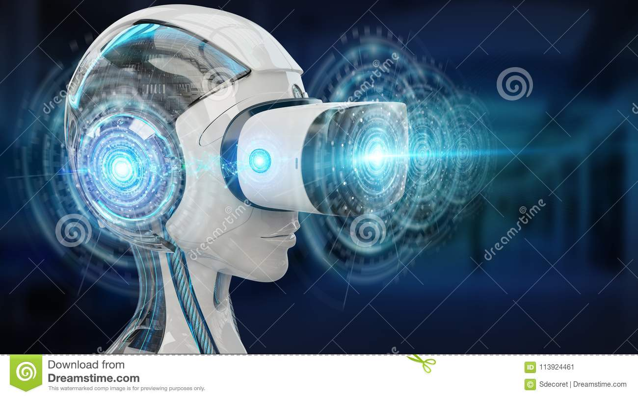 Virtual reality and artificial intelligence illustration 3D rend
