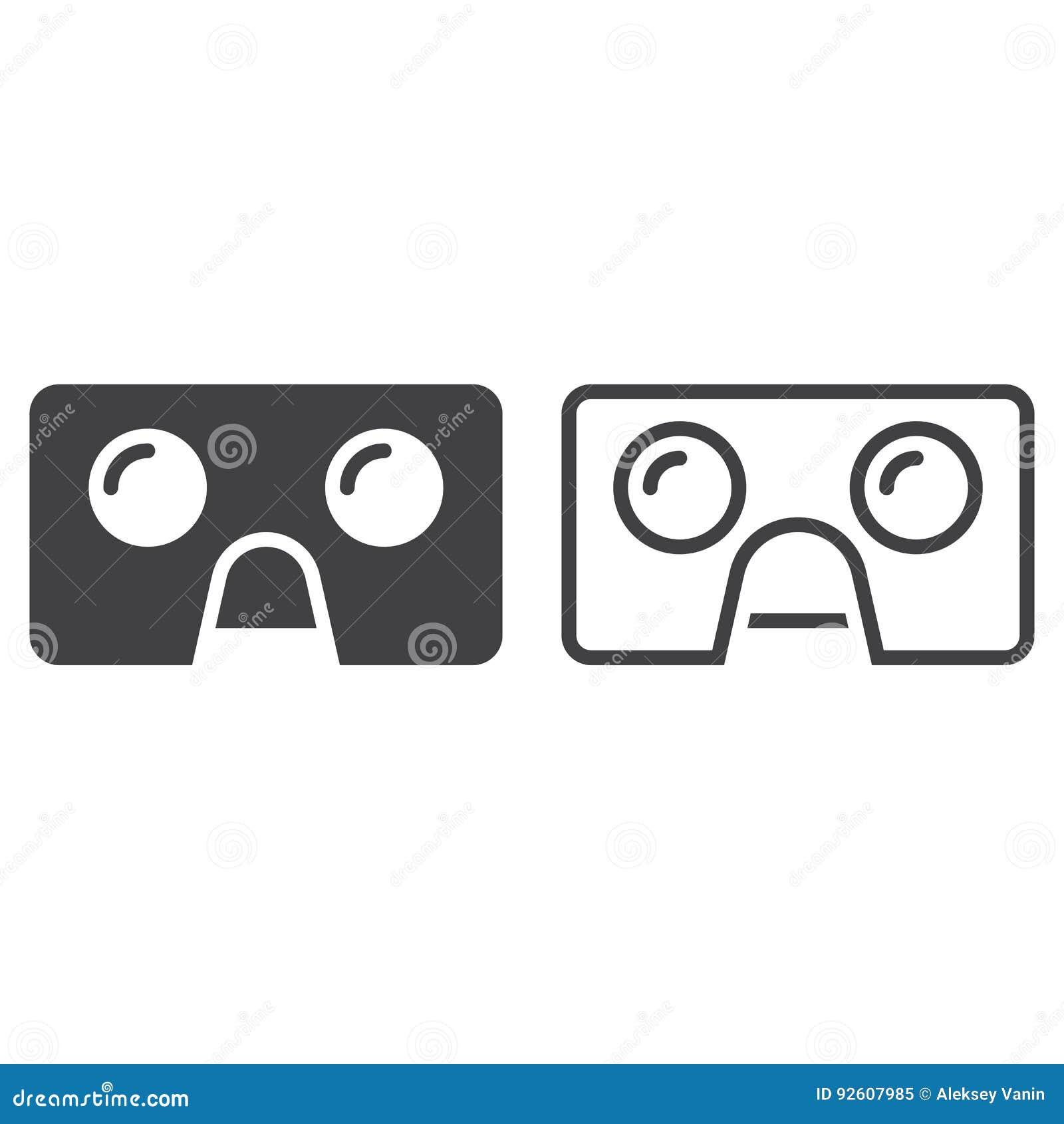 6a1c2f01cf3 Virtual Reality Cardboard Glasses Line Icon
