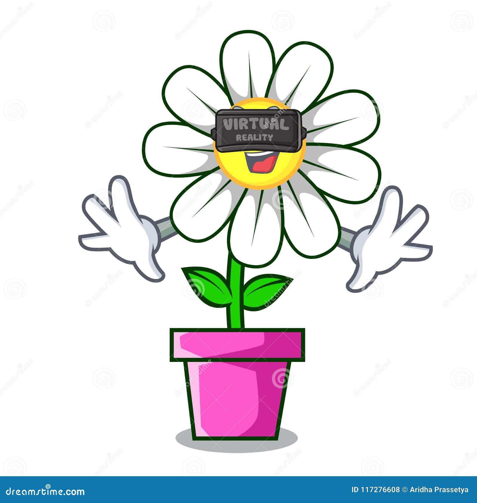 Virtual reality daisy flower mascot cartoon stock vector download virtual reality daisy flower mascot cartoon stock vector illustration of clipart blossom izmirmasajfo