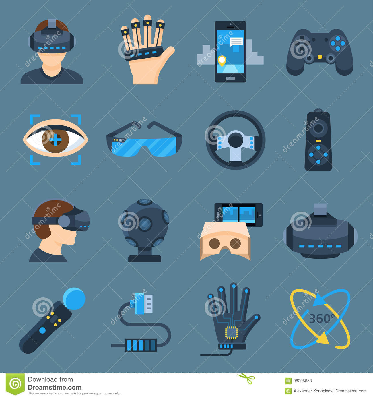 Virtual reality device set stock vector  Illustration of