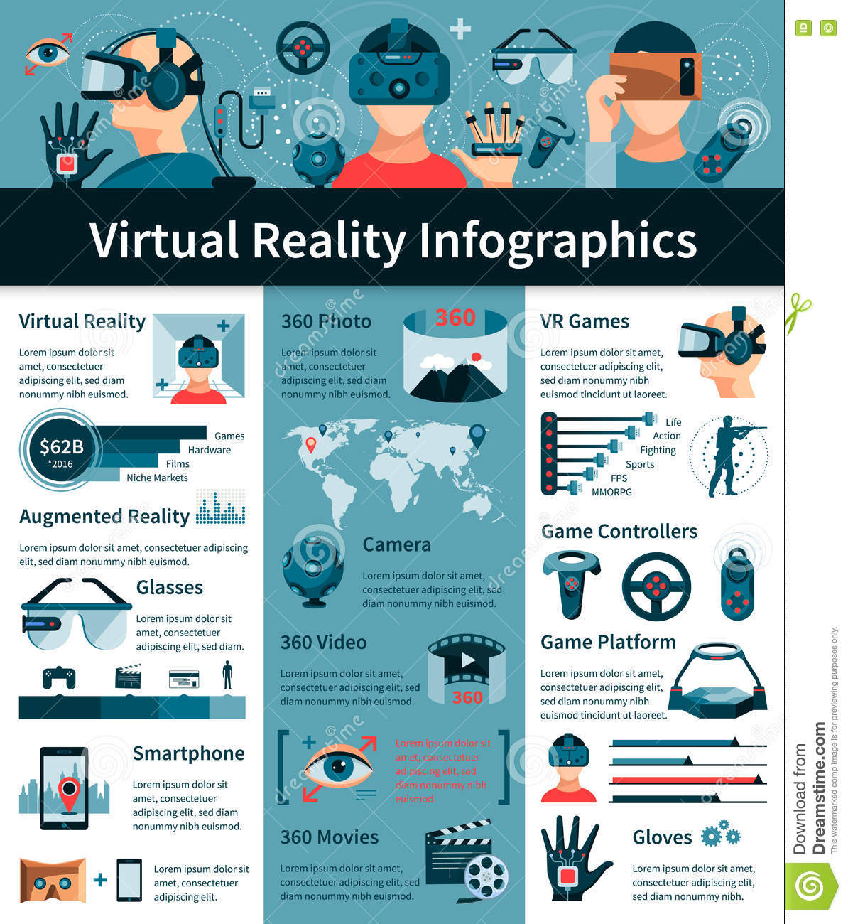 Virtual Reality Flat Infographic Poster Stock Vector ...