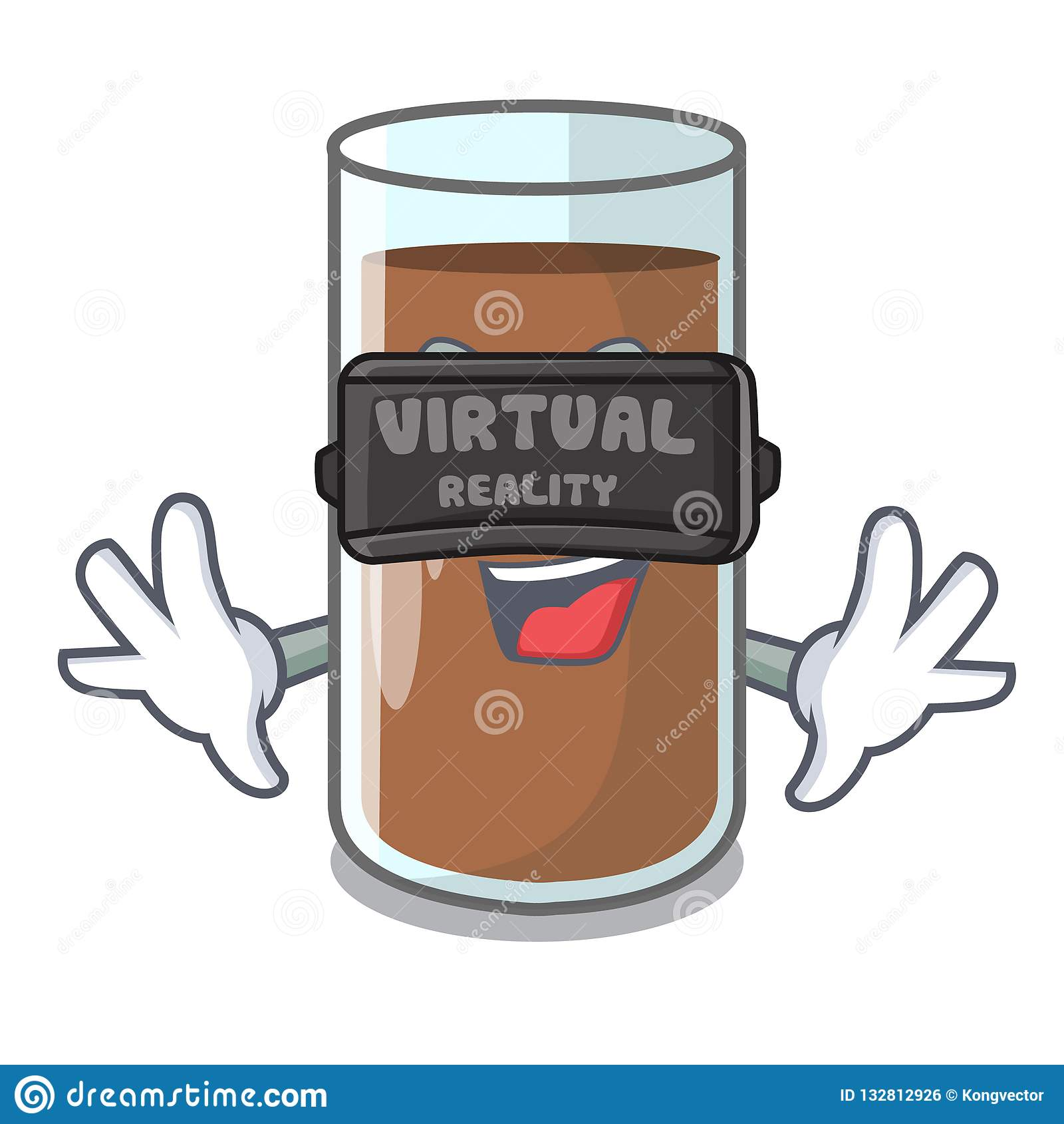 Virtual reality fresh chocolate splash on pouring mascot