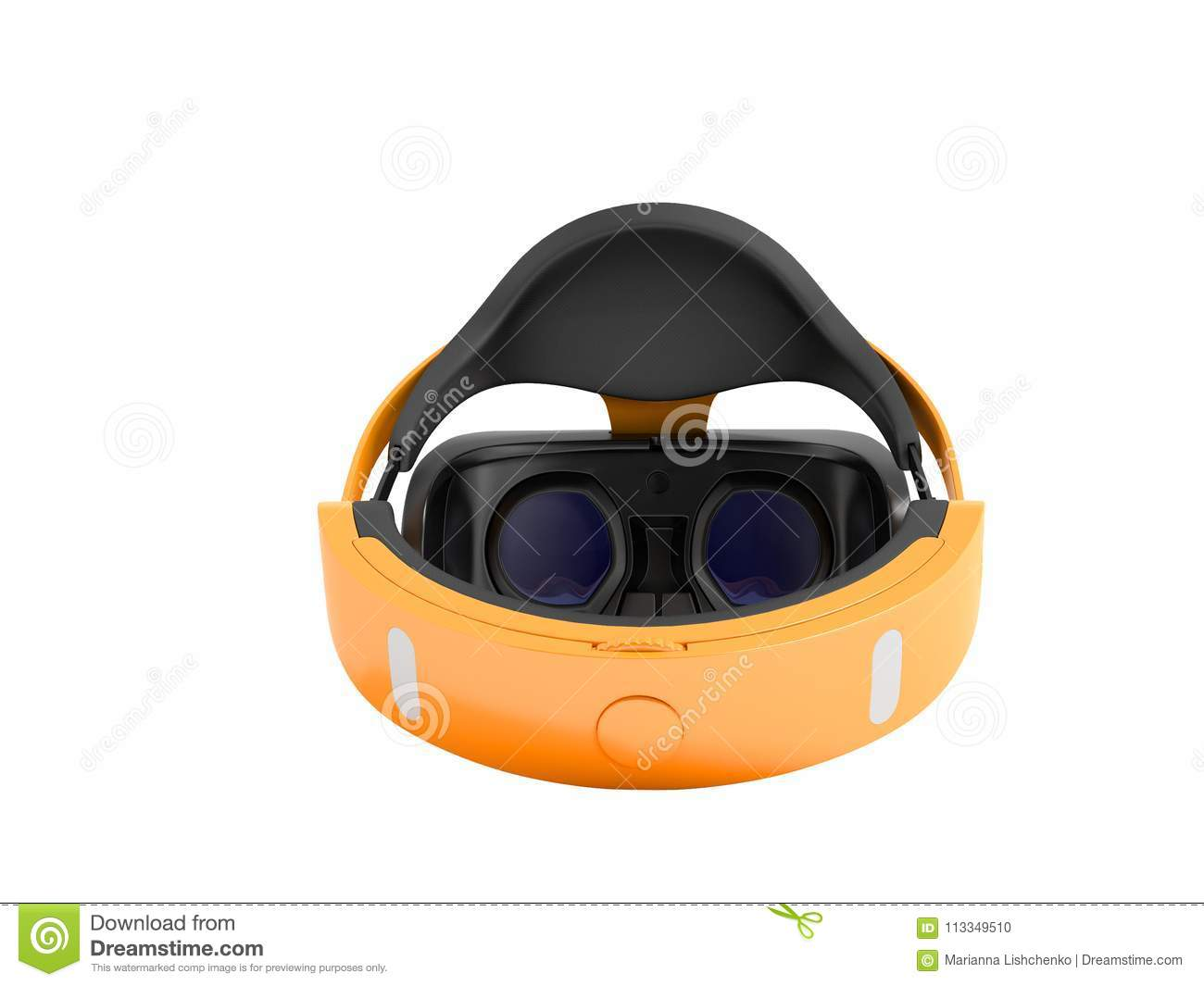 4b7ee9b828ff Modern virtual reality glasses behind orange 3d rendering on white  background no shadow