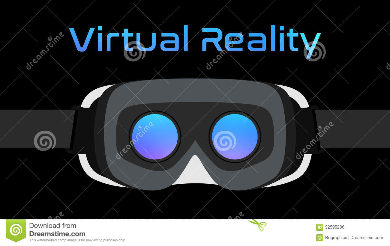 Virtual Reality Goggles VR Headset Vector Black