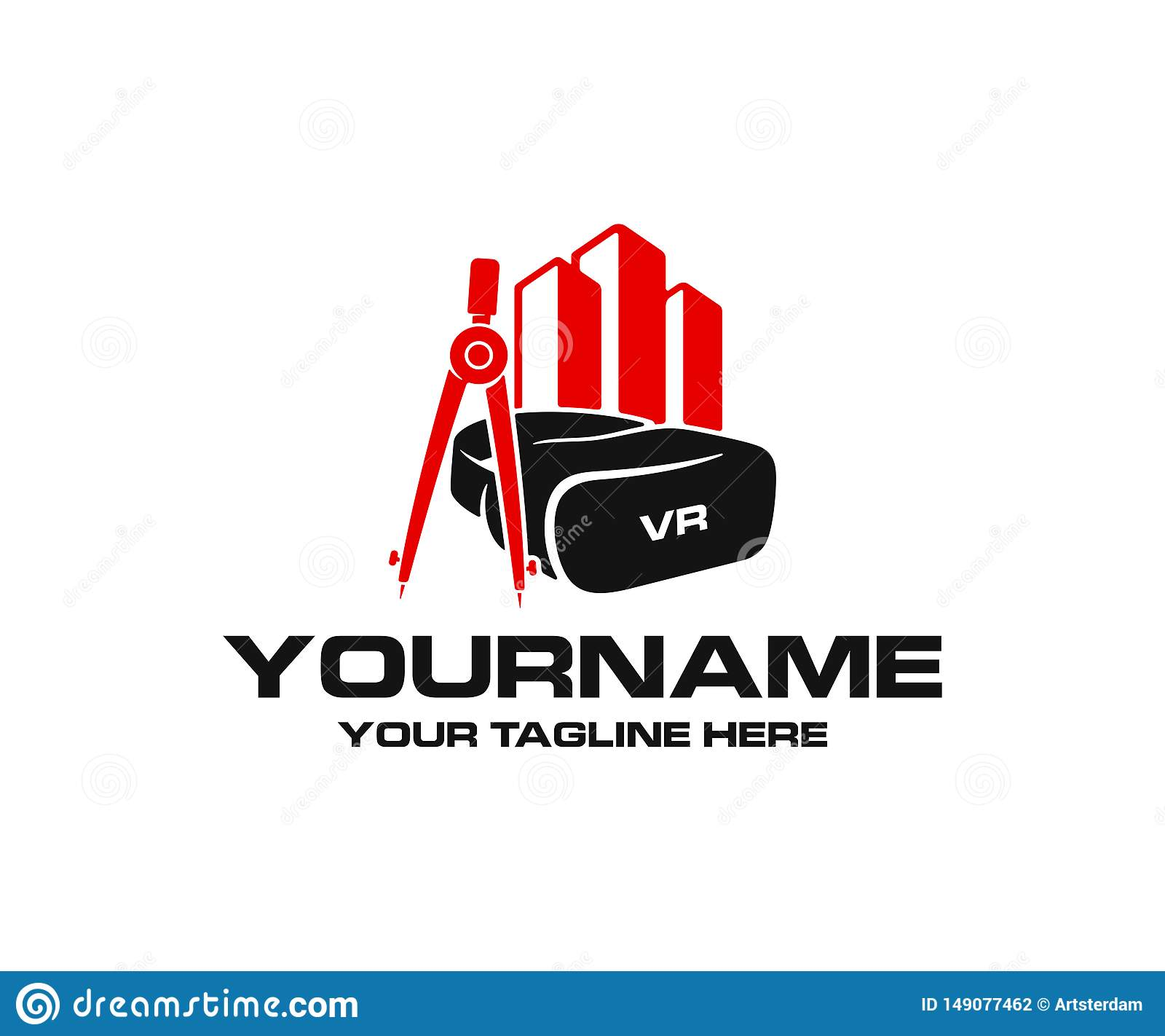 Virtual reality headset and glasses, drawing compass and property or real estate, logo design. Construction and augmented reality,