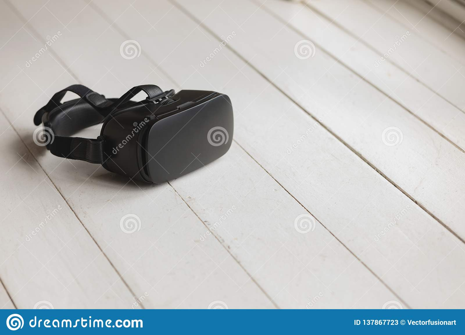 Virtual reality headset placed on the floor