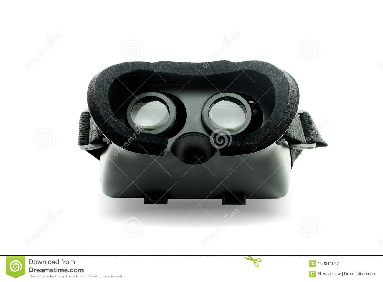 Virtual reality helmet isolated on white background., This has c