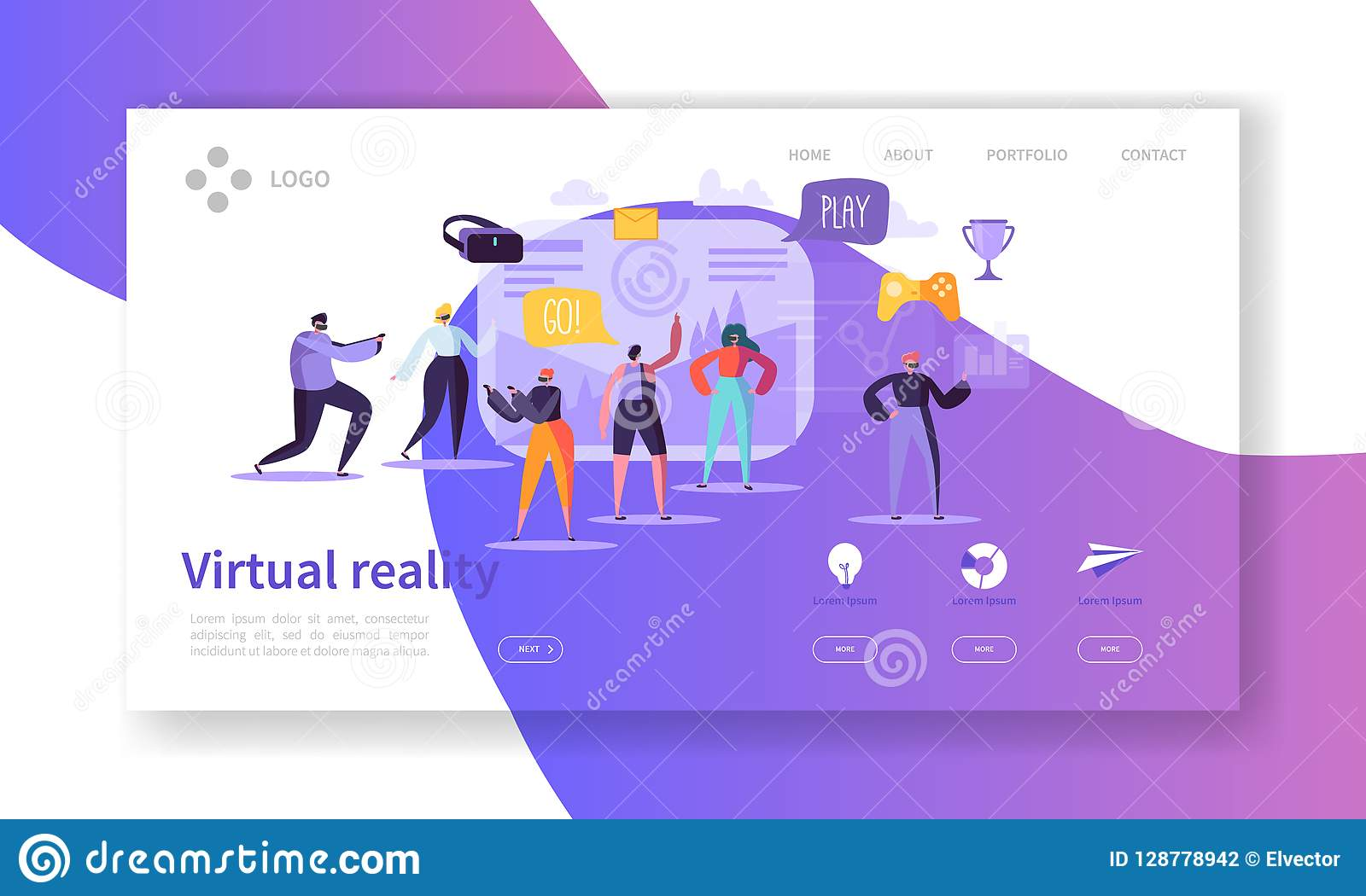 Virtual Reality Landing Page. Augmented Reality Banner with Flat People Characters Website Template. Easy to edit