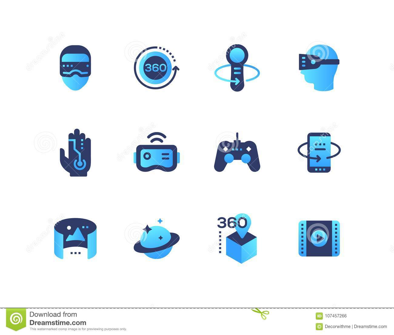 6ec1d8191e7 Virtual reality - set of flat design style icons. High quality blue images  of Vr glasses