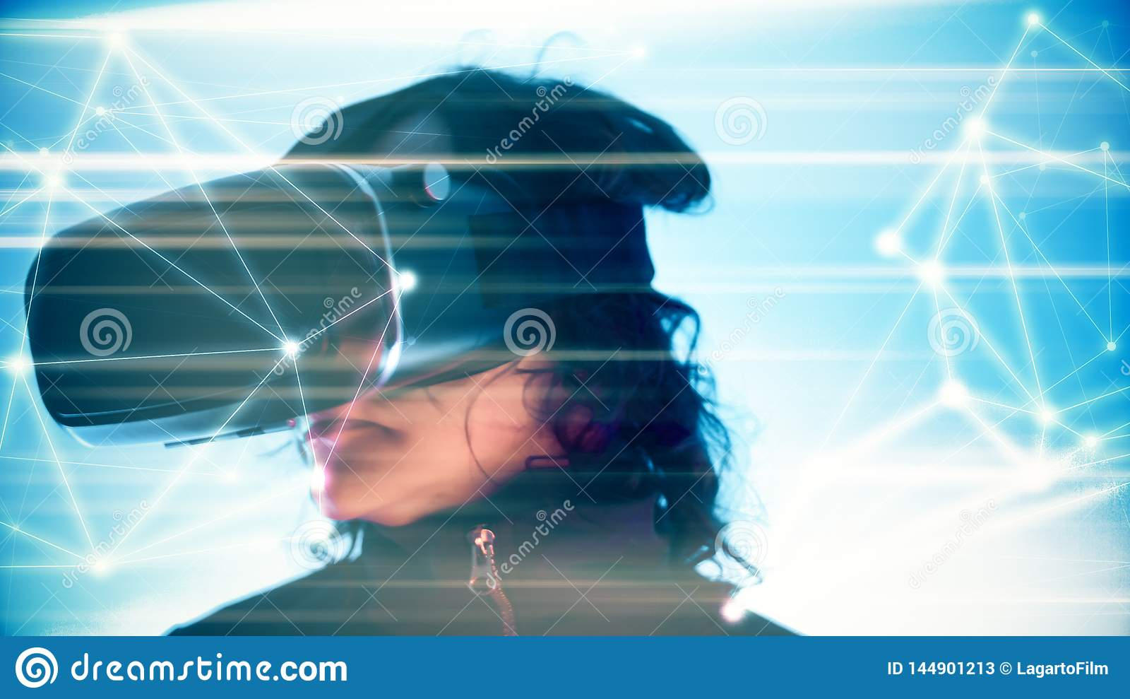 Virtual reality technology tech background dots, girl interacting virtual world