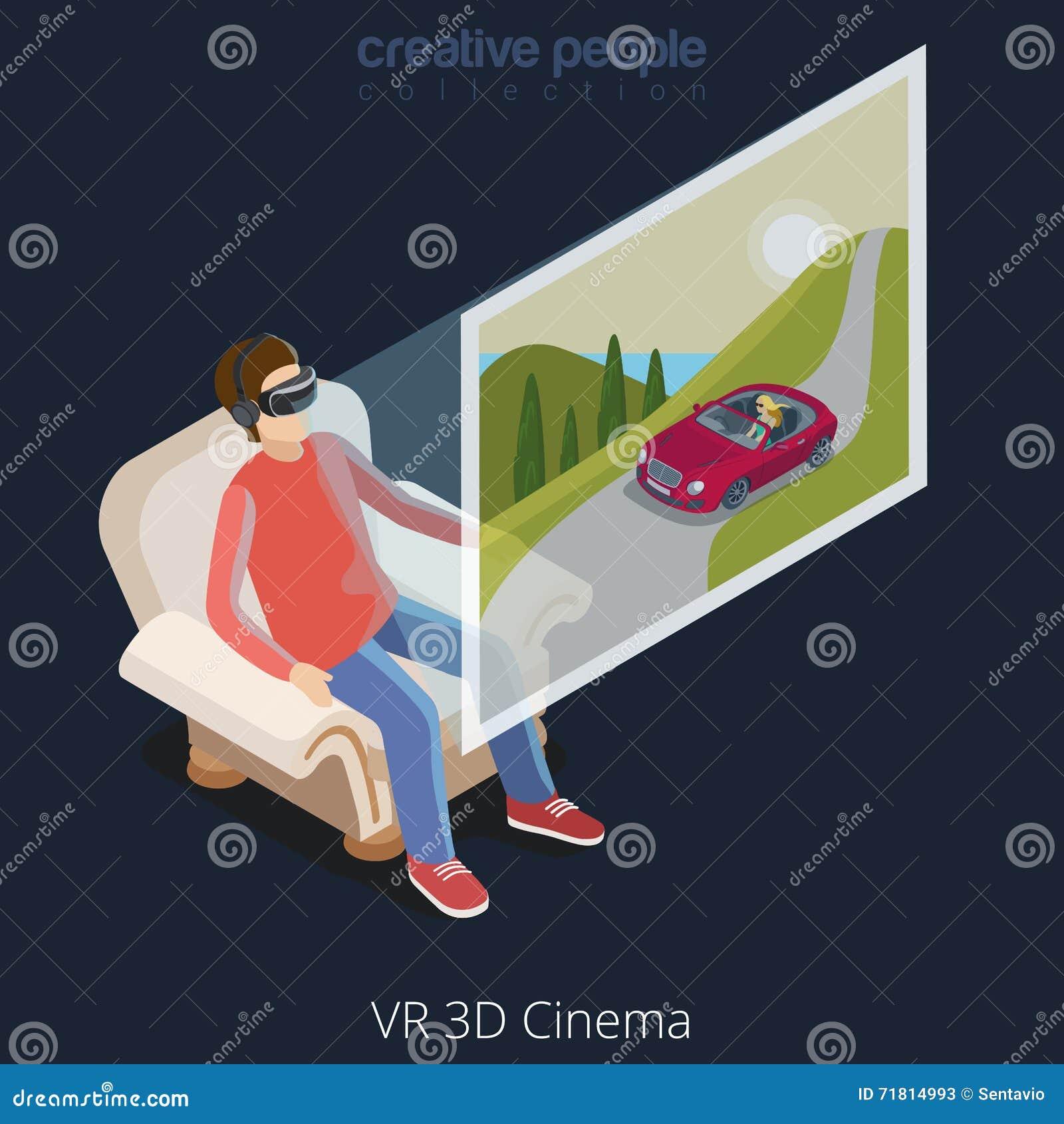 Virtual Reality VR Glass Cinema Flat Isometric Vector 3d
