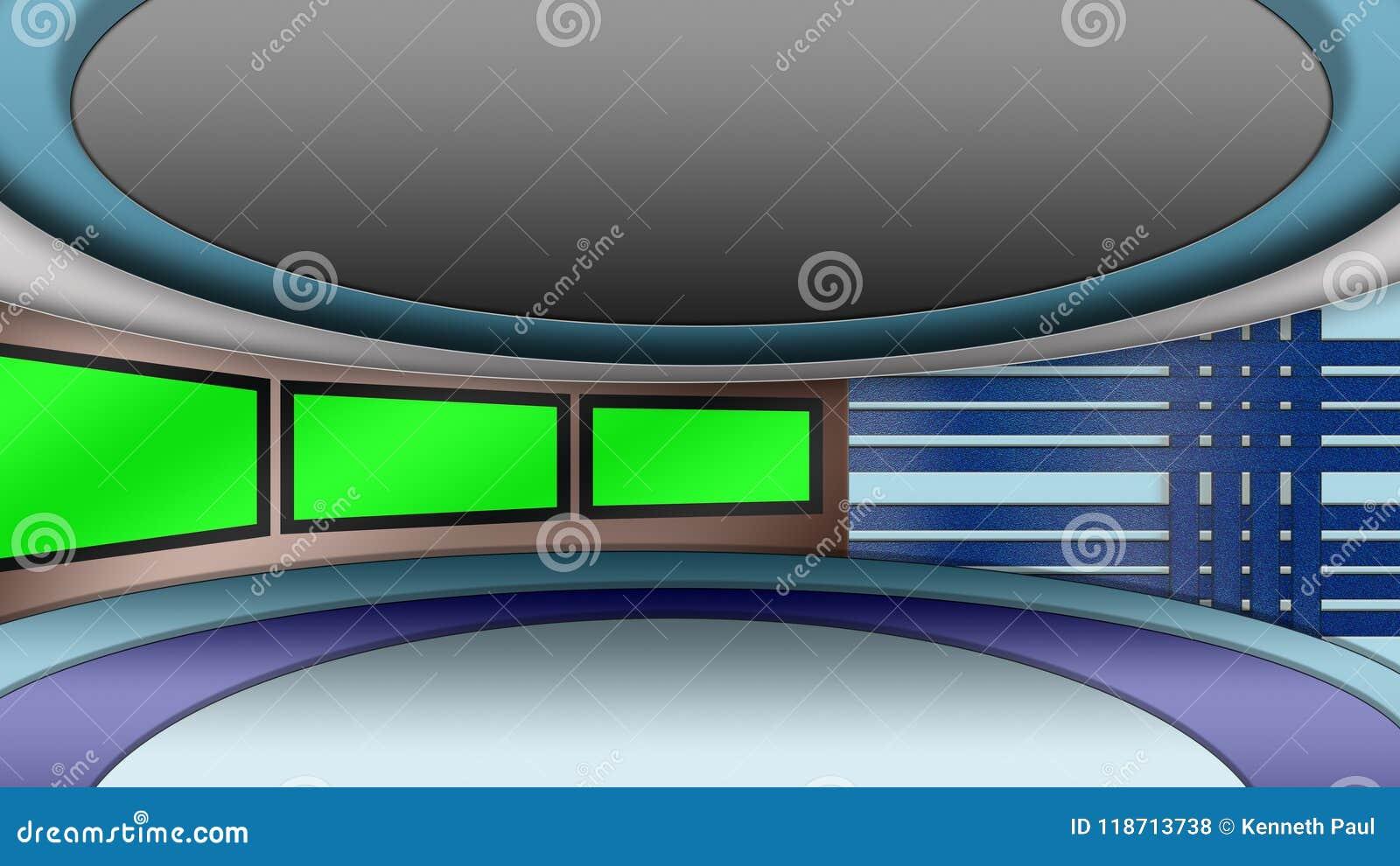 Virtual TV News Studio Set With Green Screens Stock Illustration
