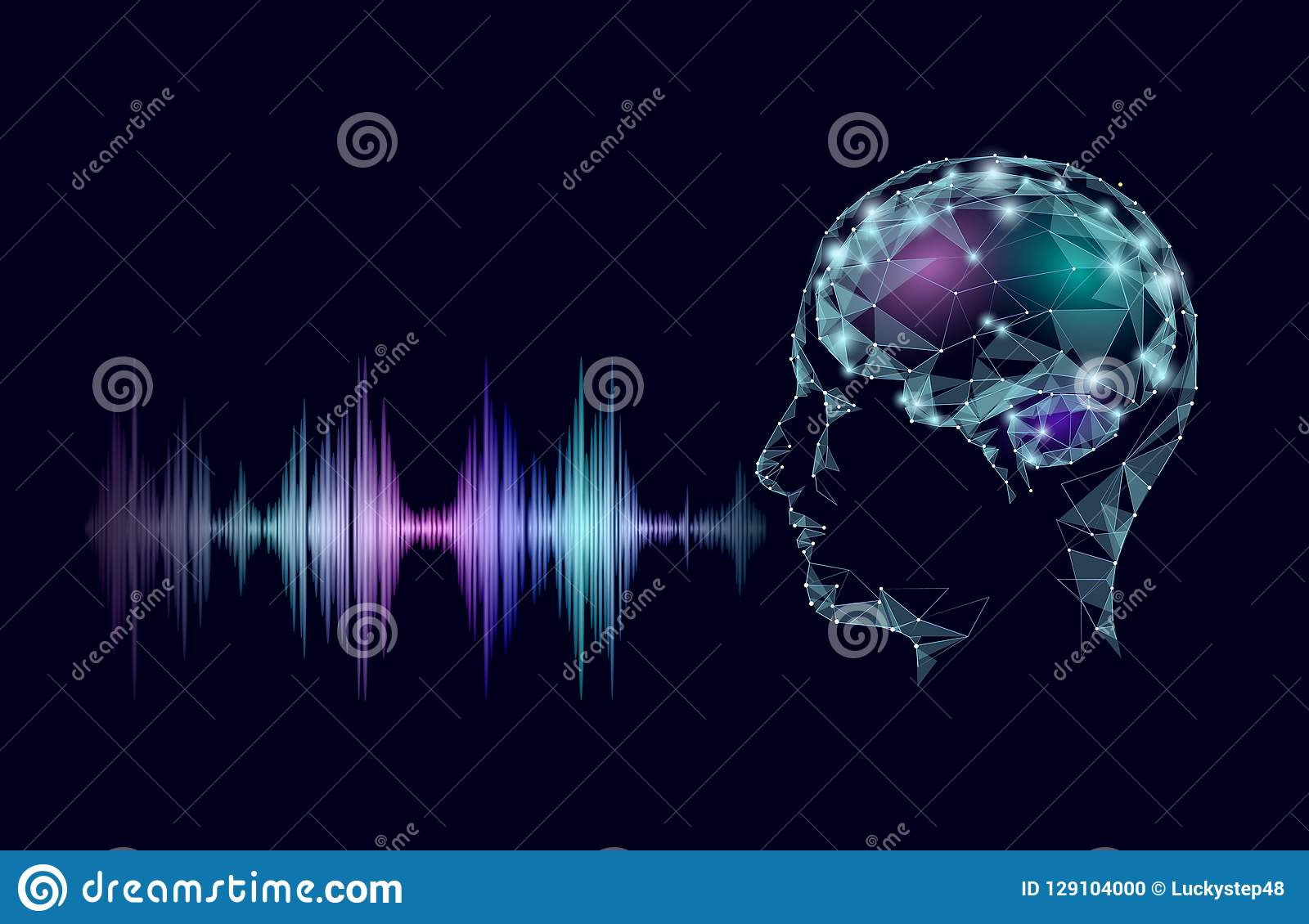 Virtual Voice Computer Online Assistant Concept  Voice Sound