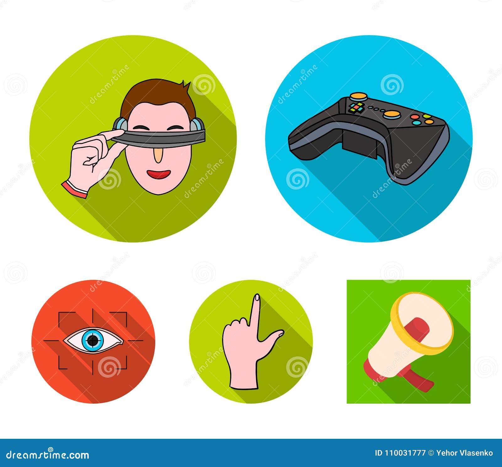 Virtueel, werkelijkheid, helm, computer, technologie, De virtuele pictogrammen van de werkelijkheids vastgestelde inzameling in d