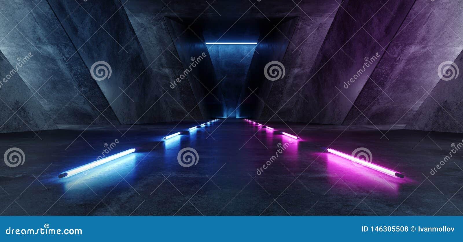 Virtuel futuriste bleu au néon de Violet Path Track Gate Entrance Sci fi de rose de Hall Corridor Background Glowing Purple de tr