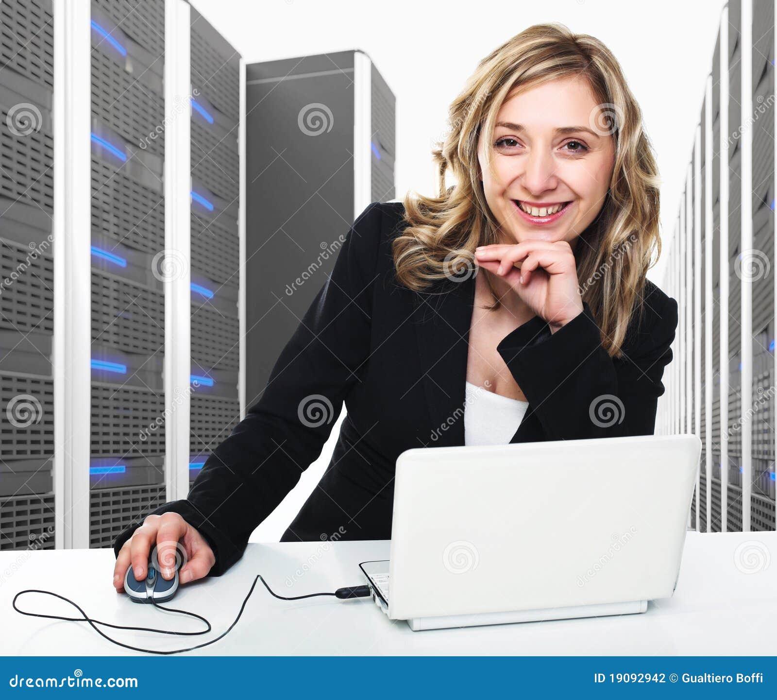 Virtuele 3d server en vrouw