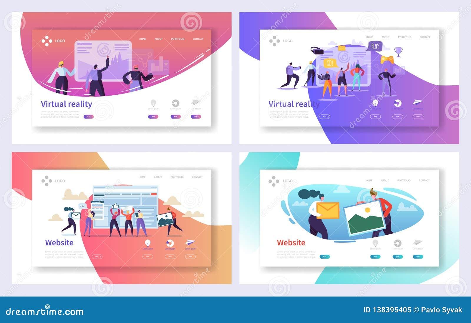 Virtuele het Landingspaginareeks van de Werkelijkheidstechnologie Vergroot Visueel Spel voor Toekomst Opgewekt Gebruikerskarakter