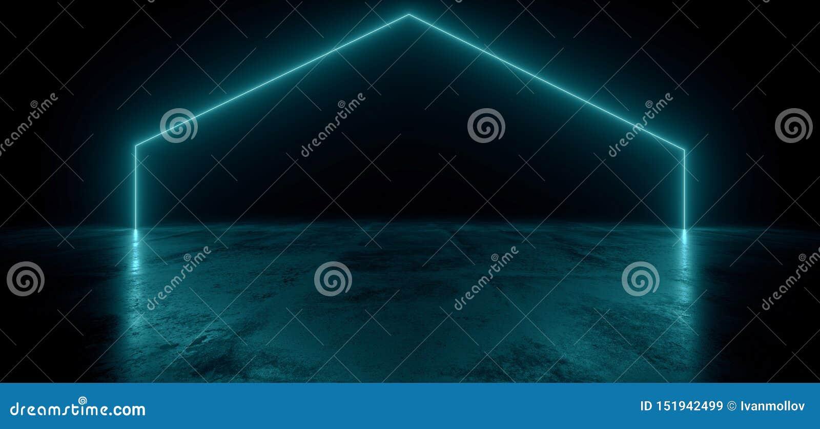 Virtuele Neonlaser het Gloeien Blauwe Trillend toont Nacht Donkere Lege Grunge Concrete Gestalte gegeven Lichten Heldere Bezinnin