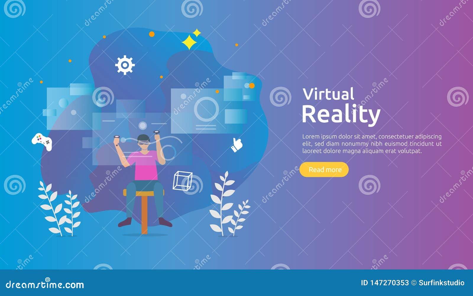 Virtuele vergrote werkelijkheid mensenkarakter wat betreft de interface en het dragen van van VR beschermende bril speelspelen, o
