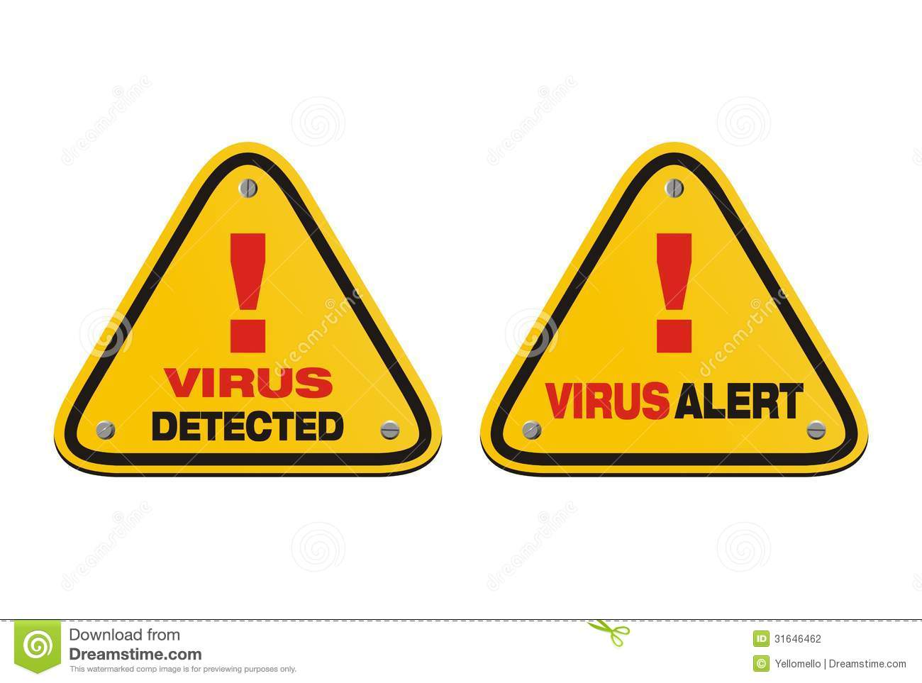 Virus Alert, Virus Detected - Triangle Signs Stock Photography ...