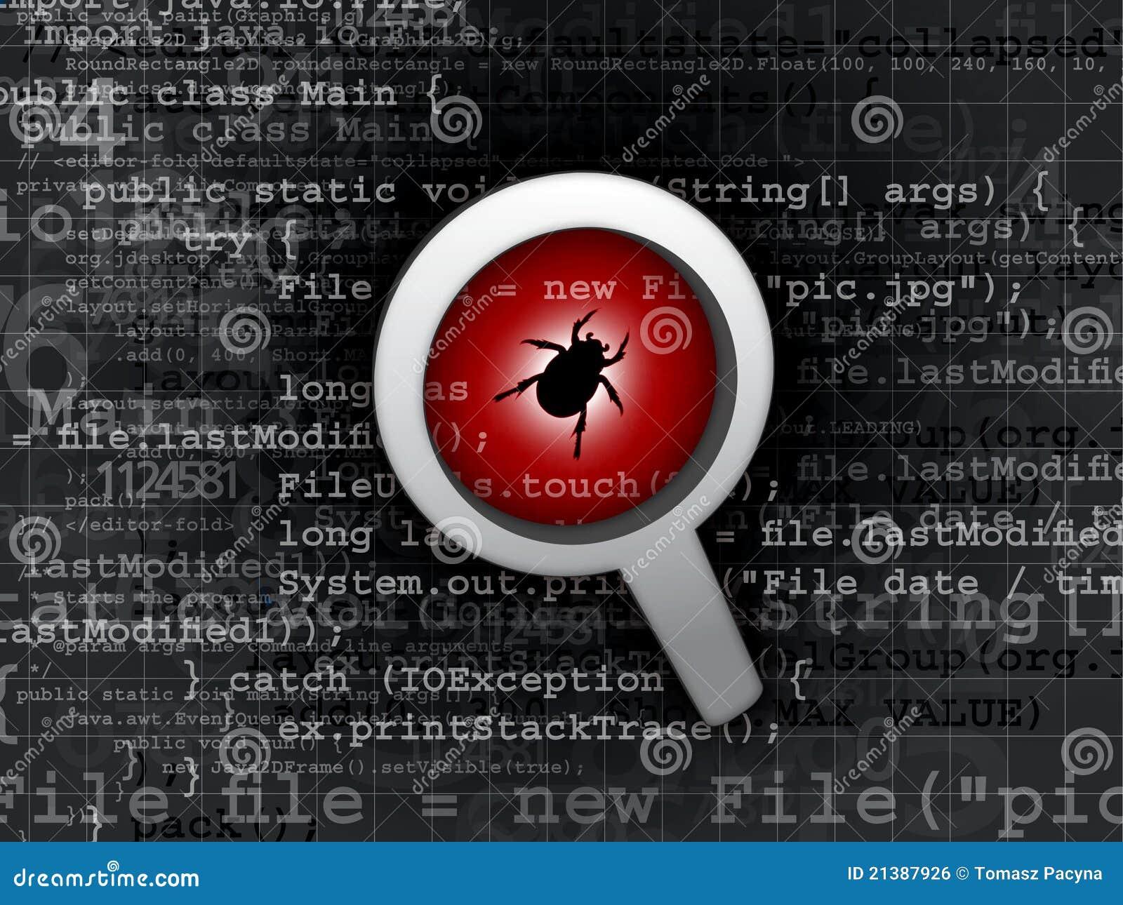 Download Virus bug in program code stock photo. Image of background - 21387926