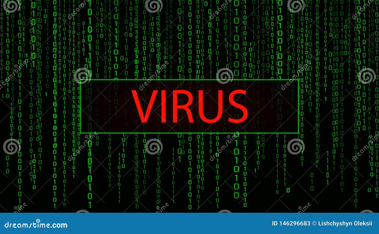 Virus d ordinateur Attaque de Cyber tailler Matrice verte de fond de Digital Code machine binaire Illustration de vecteur