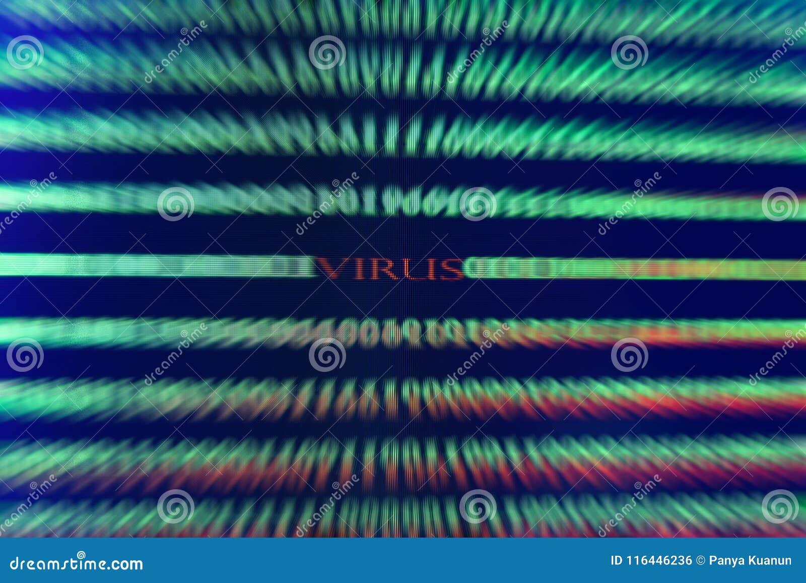 Virus im Computercode auf schwarzem Hintergrund