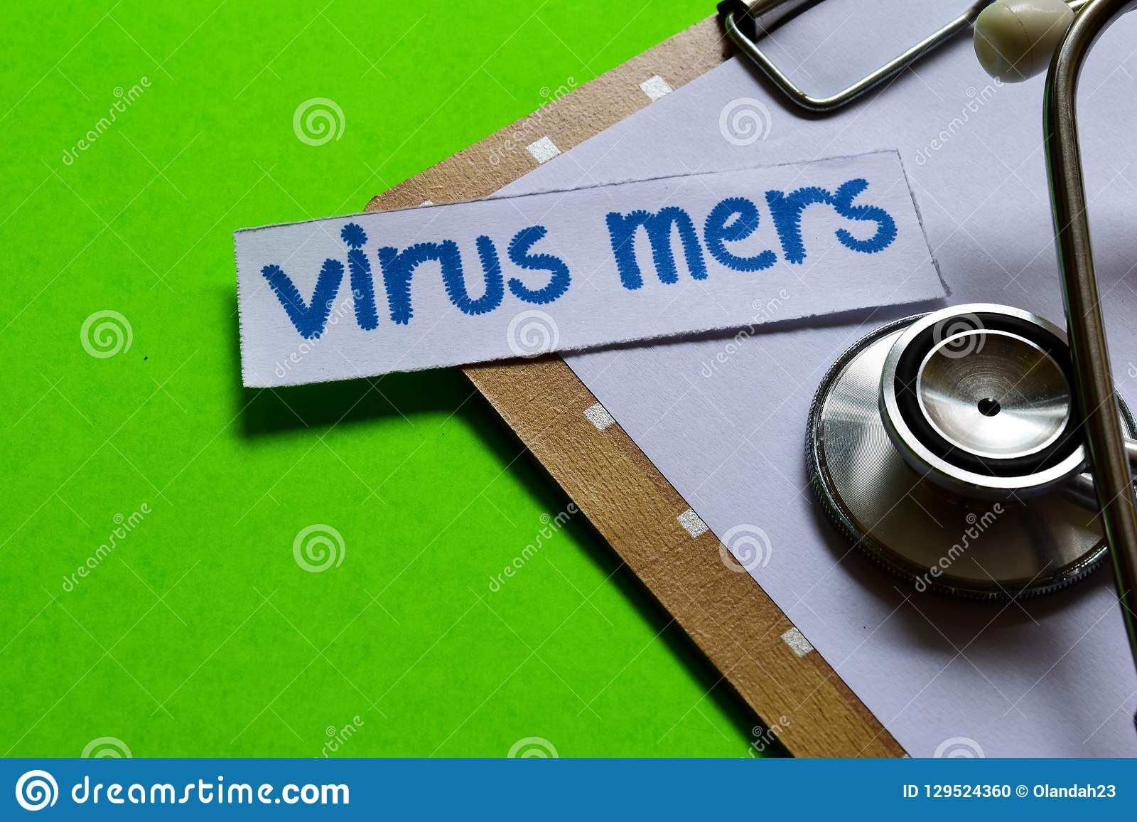 Virus mers on Healthcare concept with green background
