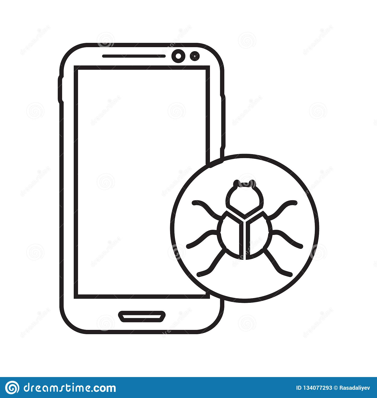 Virus In Smart Phone Icon  Element Of Cyber Security For