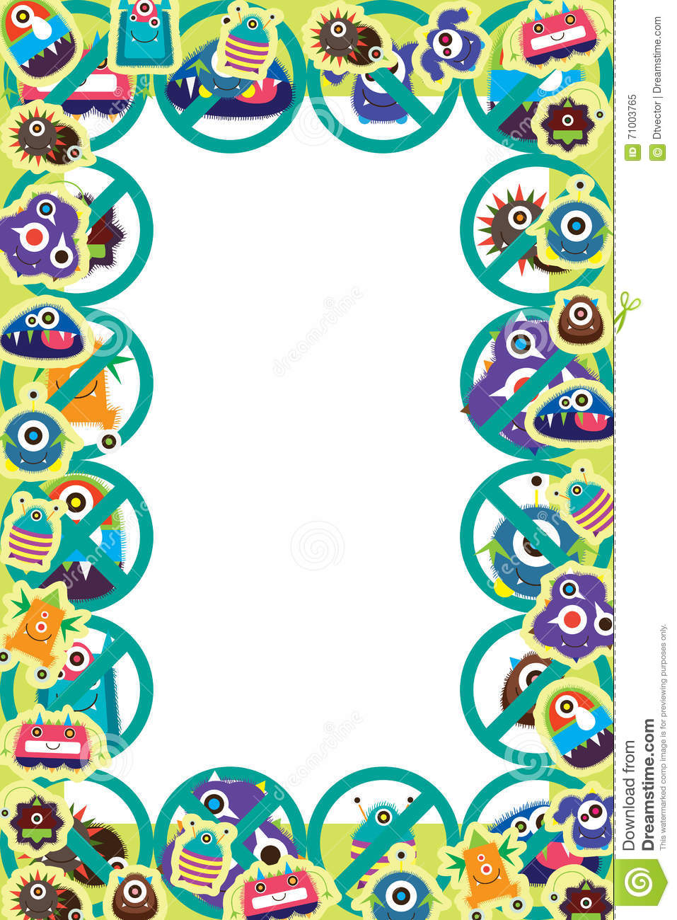 White Backgrounds With Colorful Borders Virus sticker frame st...