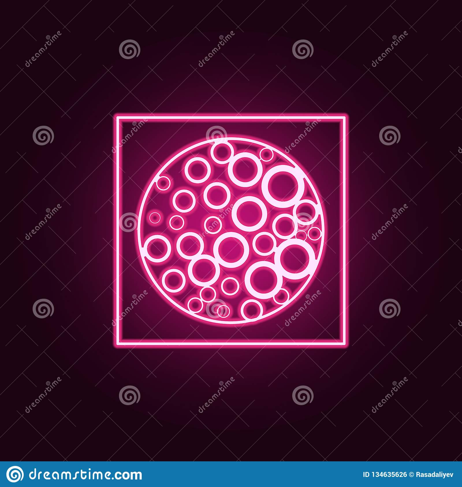 Viral Times Web: Virus Under The Microscope Icon. Elements Of Disabled In