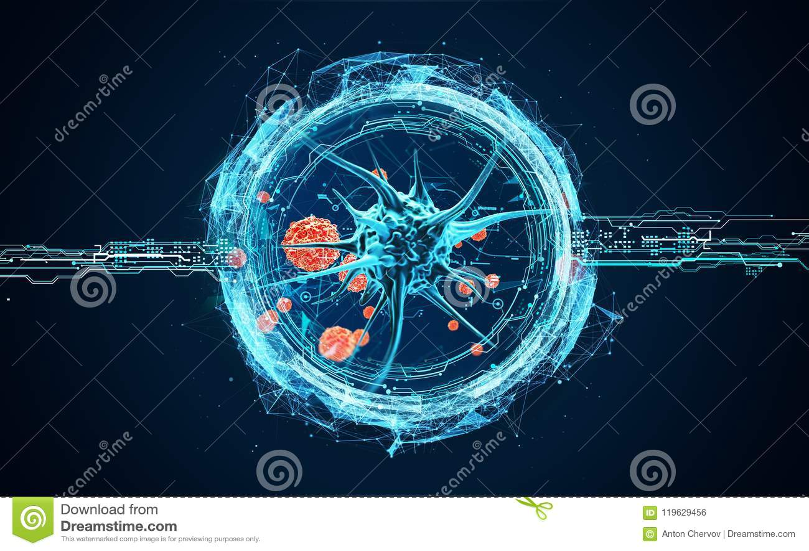 Viruscellen onder een microscoop