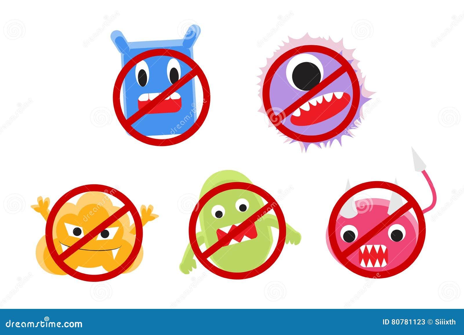 Viruskarikatur mit Verbotkreisvektor