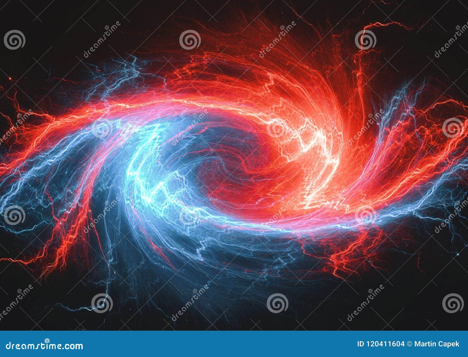 Virvlande runt plasma för brand som och för is lighrning