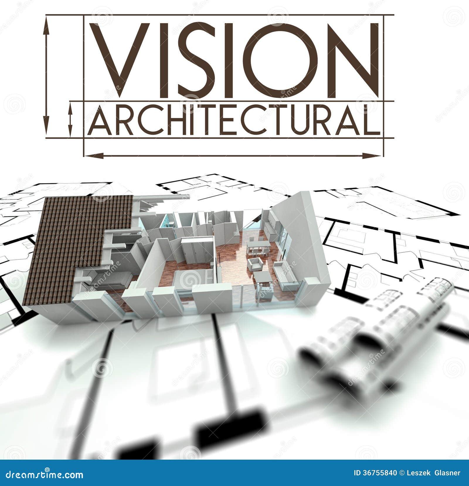 Visão arquitetónica com projeto da casa em modelos