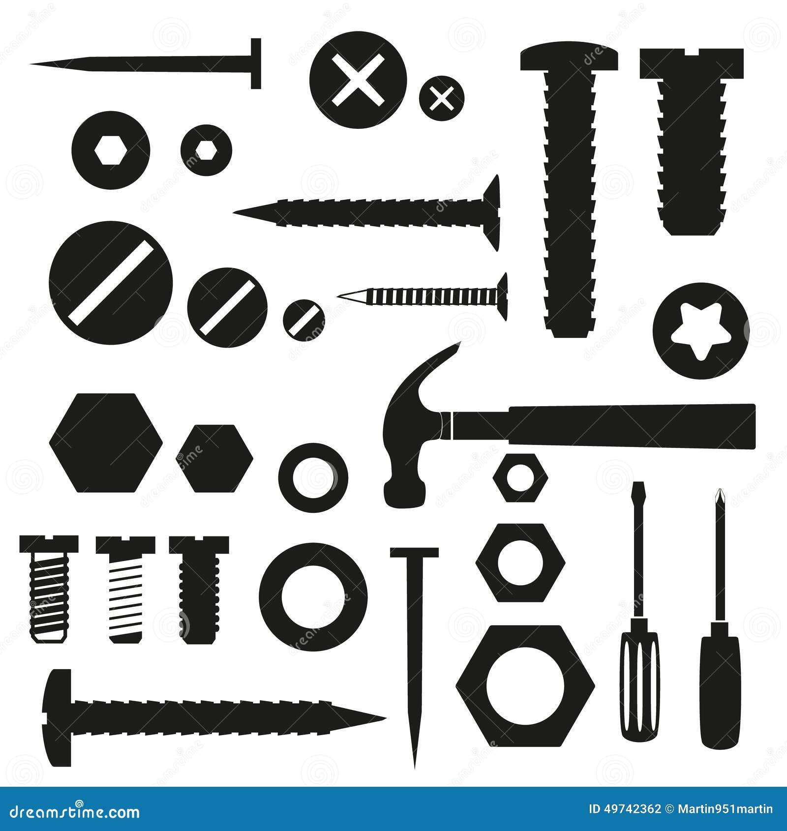 Vis et clous de matériel avec des symboles d outils
