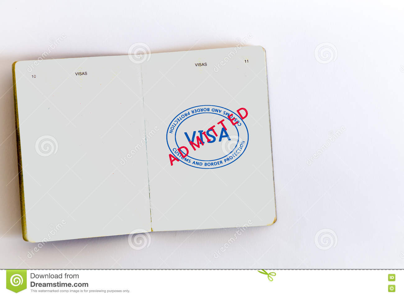 Visa Admitted Stamp In Passport Stock Photo Image Of Tourism