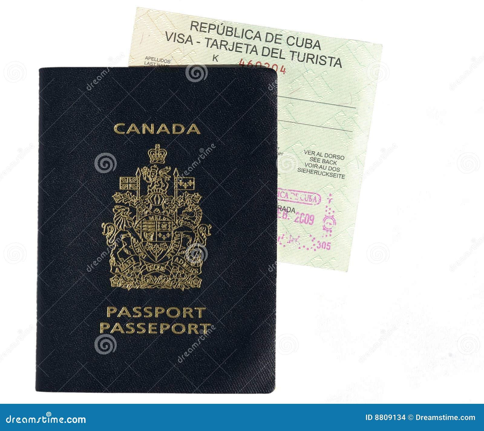 Visa Canadiense Del Pasaporte Y Del Cubano Foto de archivo ...