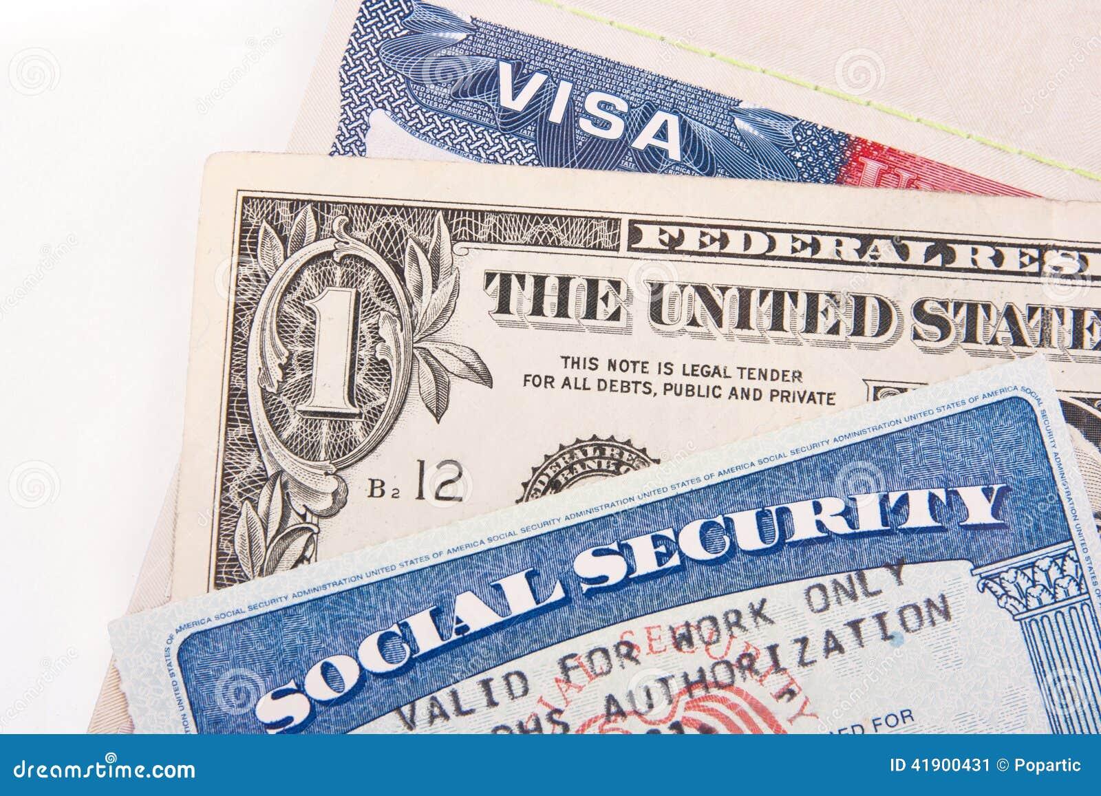 e Y Dólar E - u Visa Internacional u Seguridad Tarjeta Social Archivo Los 41900431 Imagen Tarjeta Un De Billete