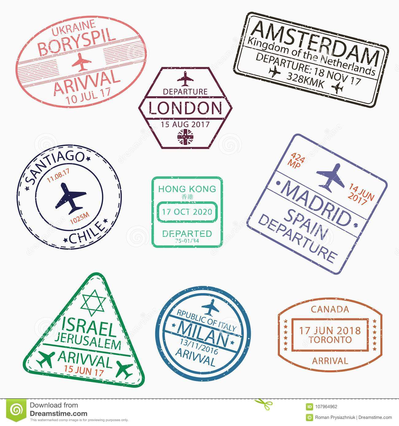 Visa Passport Stamps For Travel To Canada Ukraine Netherlands Great Britain Chile