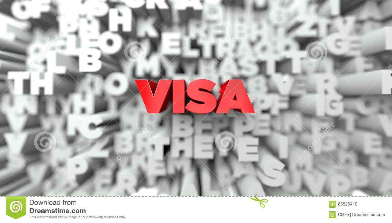 Visa Red Text On Typography Background 3d Rendered Royalty Free