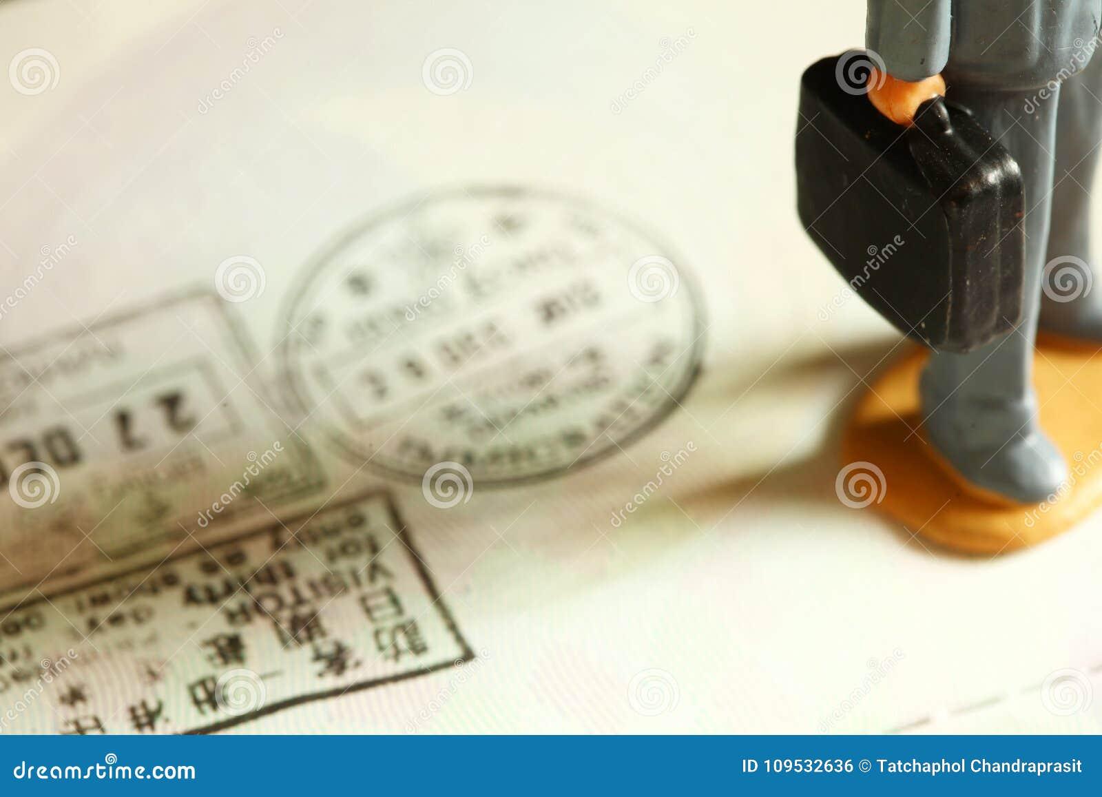 Visa stamped scene.