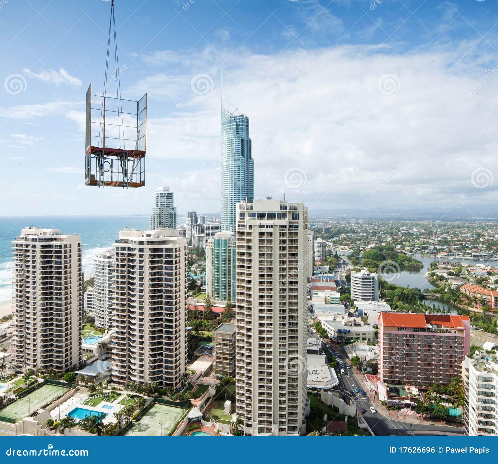 Visad modern stigning för byggandestad high
