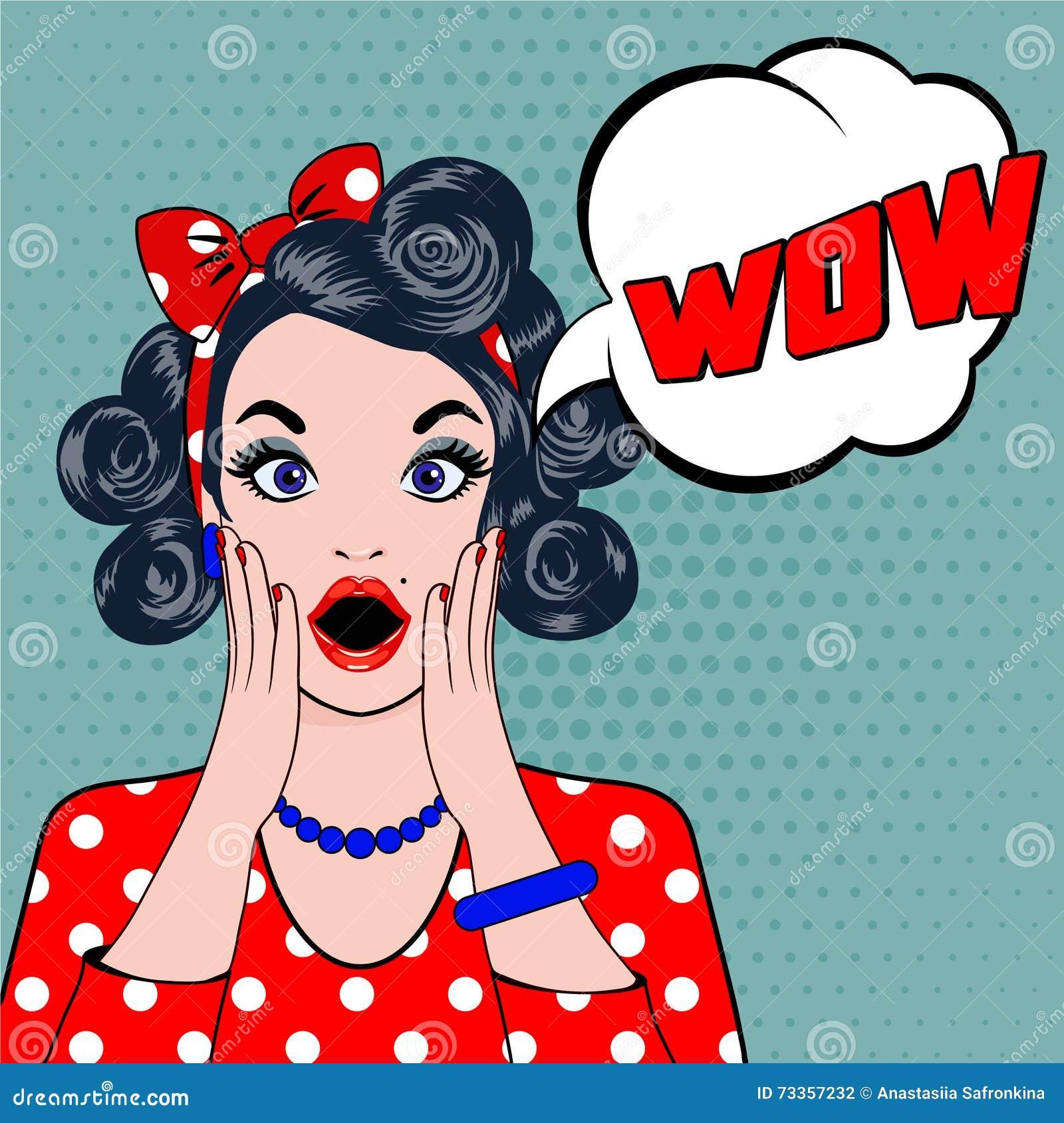 Visage étonné de femme d art de bruit de bulle de wow