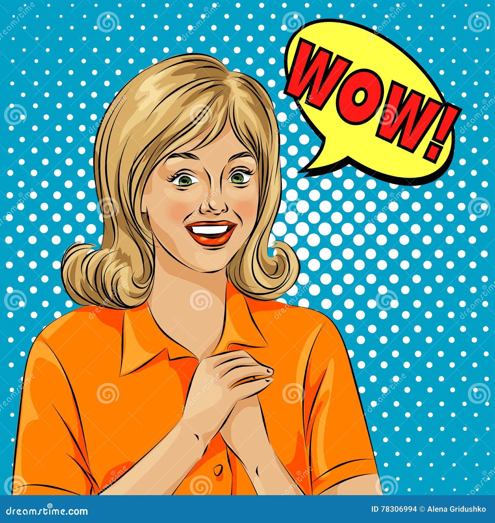 Visage étonné de femme d art de bruit de bulle de wow Illustration d art de bruit d un style comique, bulle de la parole de fille