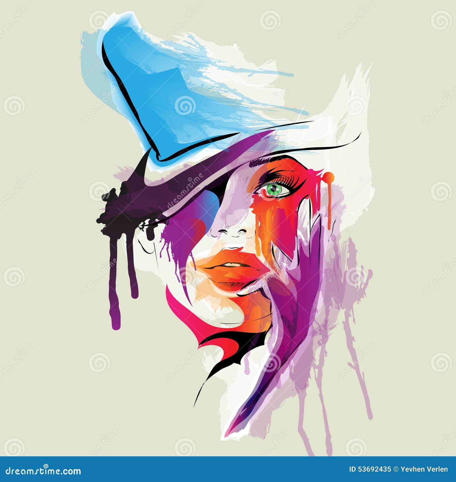 Extrêmement Visage Abstrait De Femme Illustration de Vecteur - Image: 53692435 XA23