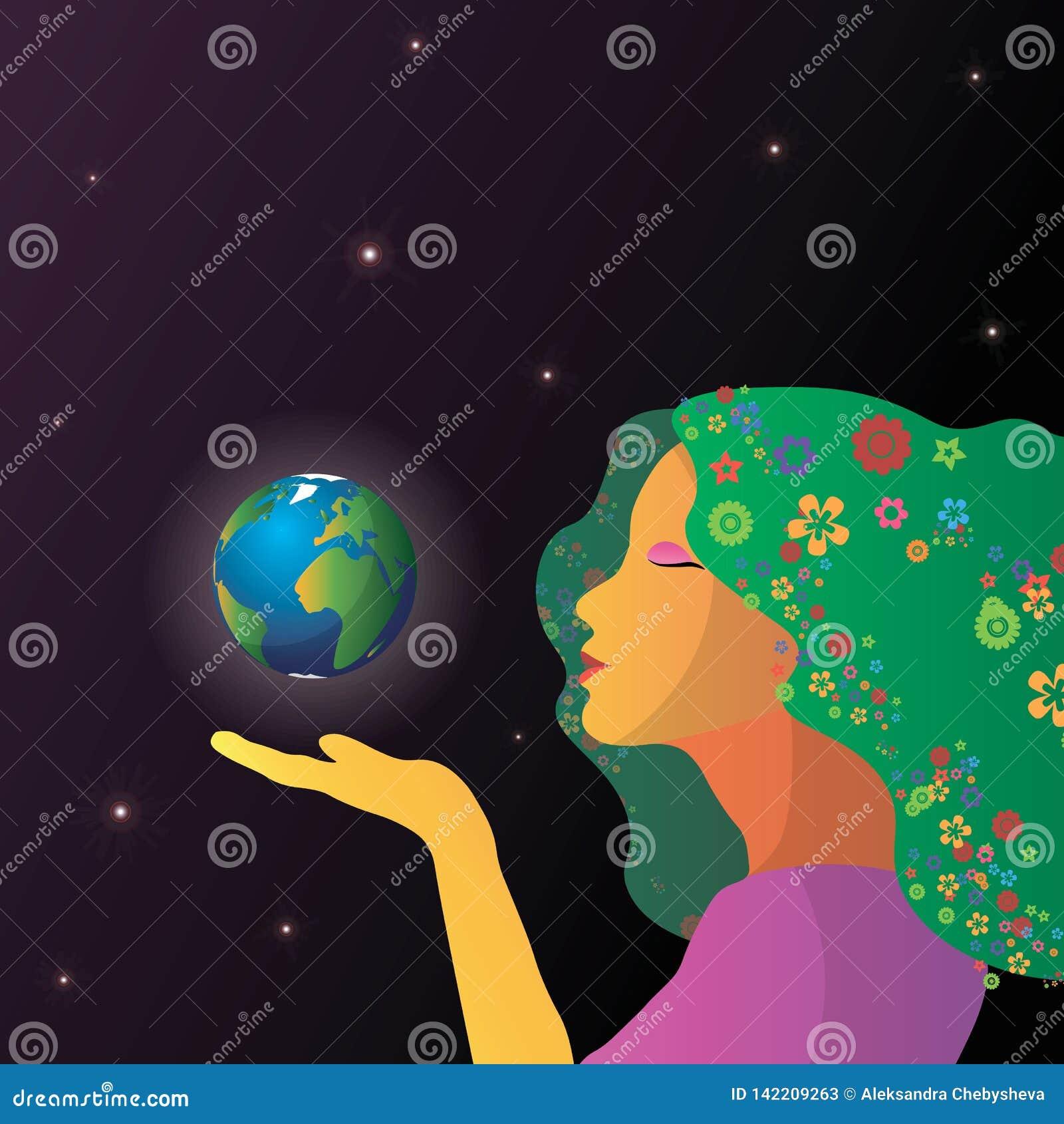 Visage abstrait de femme avec la terre dans des mains