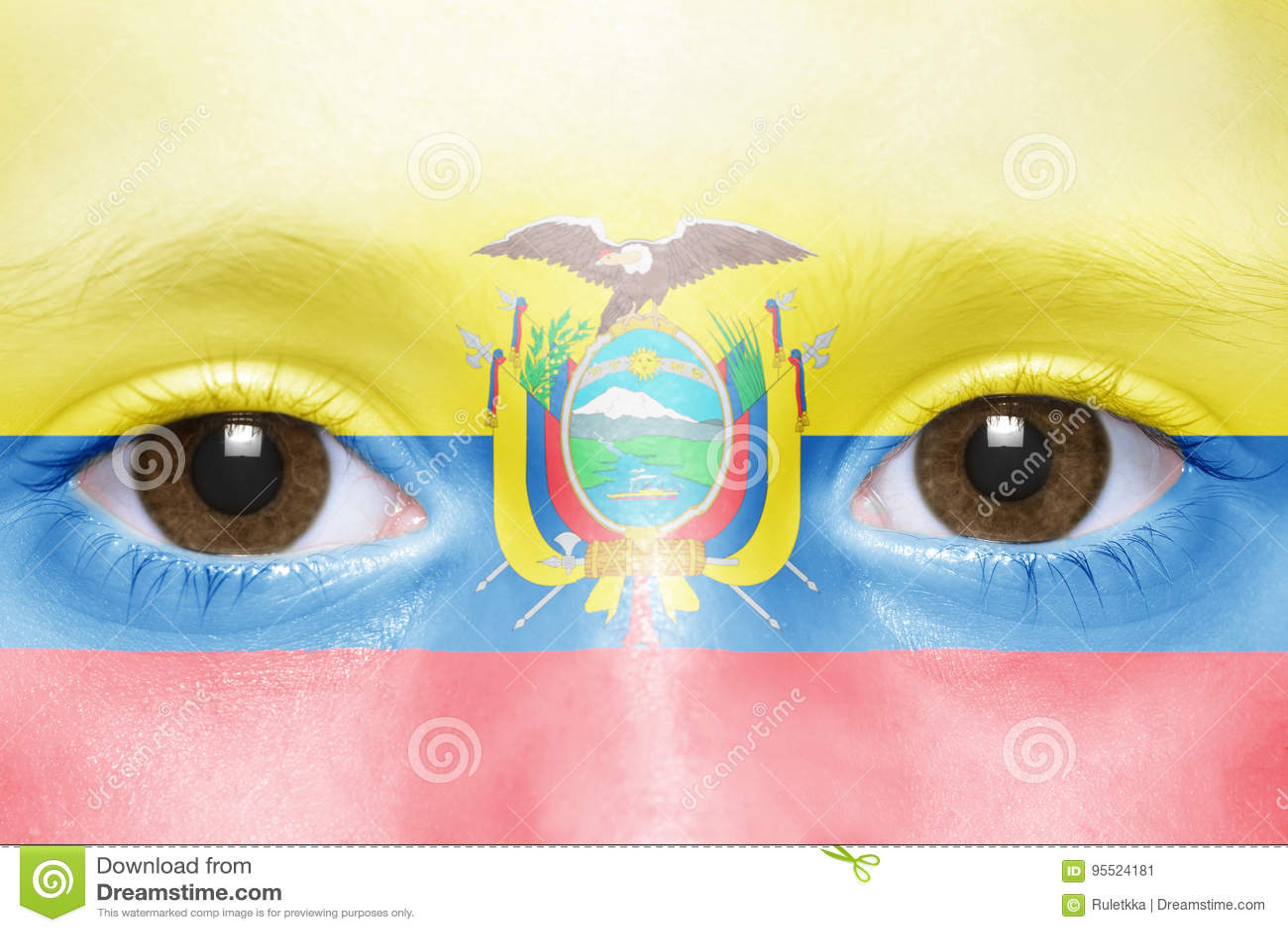 Visage avec le drapeau d ecuadorian
