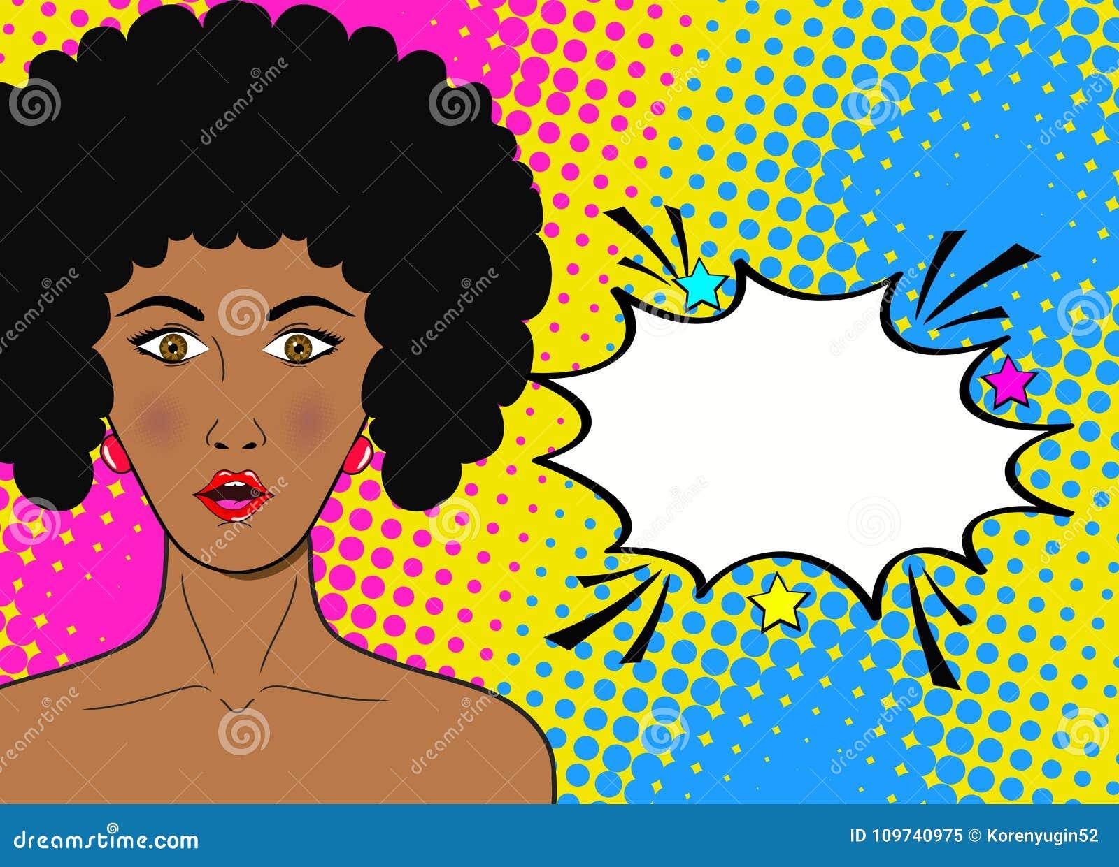 Visage d art de bruit de wow Femme africaine étonnée sexy avec la bouche ouverte a
